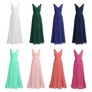 Image 3 - TiaoBug New Arrival sukienki na specjalne okazje V Neck eleganckie 2020 kobiety panie druhna księżniczka szyfonowe, letnie sukienki długie