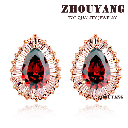 ZYE622  Luxurious RED Crystals Stud Earring  Rose Gold Plated Jewelry Made with Genuine  Austrian Crystal Wholesale