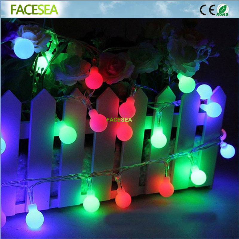 10m 100 Led Christmas Tree Garland String Xmas Decoration Outdoor Ball Curtain Fairy Holiday Lights EU Plug 220v 2 5 10m 10 38led holiday lights 5cm big balls led light string ac plug rgb warm white xmas garland christmas fairy decoration da