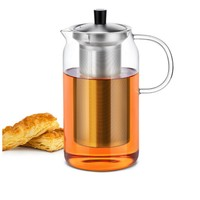 Free Shipping Heat Resistant Glass Modern Large Teapot With Stainless Steel Infuser Lid 1200ml Borosilicate Glassware
