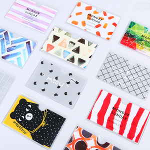 cartoon plastic translucent card sets holders animal pattern kid lady boys girls students school bus cards protection case cover