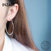INZATT, настоящее 925 пробы, серебряные, Boho, полые, Круглые, гипербола, серьги-кольца для модных женщин, серьги,, хорошее ювелирное изделие