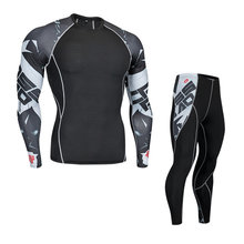 Motorcycle Men Thermo Underwears Suits Set Motorcycle Skiing Winter Warm Base Layers Tight Long Tops & Pants Thermal Underwear(China)