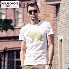 Enjeolon brand 2017 short sleeve print t shirt men cotton O neck base fit black fashion