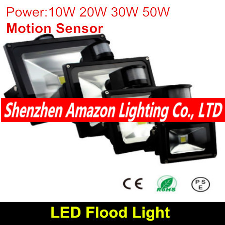 <font><b>10W</b></font> 20W 30W 50W PIR Motion Sensor <font><b>led</b></font> floodlights outdoor spotlights spot flood lamp garden light <font><b>reflector</b></font> Free shipping image