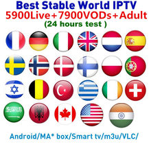 Distribuidor 6000 + 7900 VODs 1 año IPTV M3U Smart TV Android adulto panel de control IPTV Fance Portugal Bélgica francia, España, Reino Unido(China)
