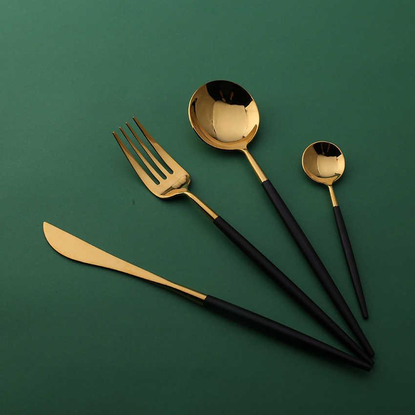حار بيع 4 أجزاء مرآة ضوء البرتغالية الأسود و الذهب أواني الطعام 304 الفولاذ المقاوم للصدأ السكاكين المطبخ الغذاء المائدة مجموعة