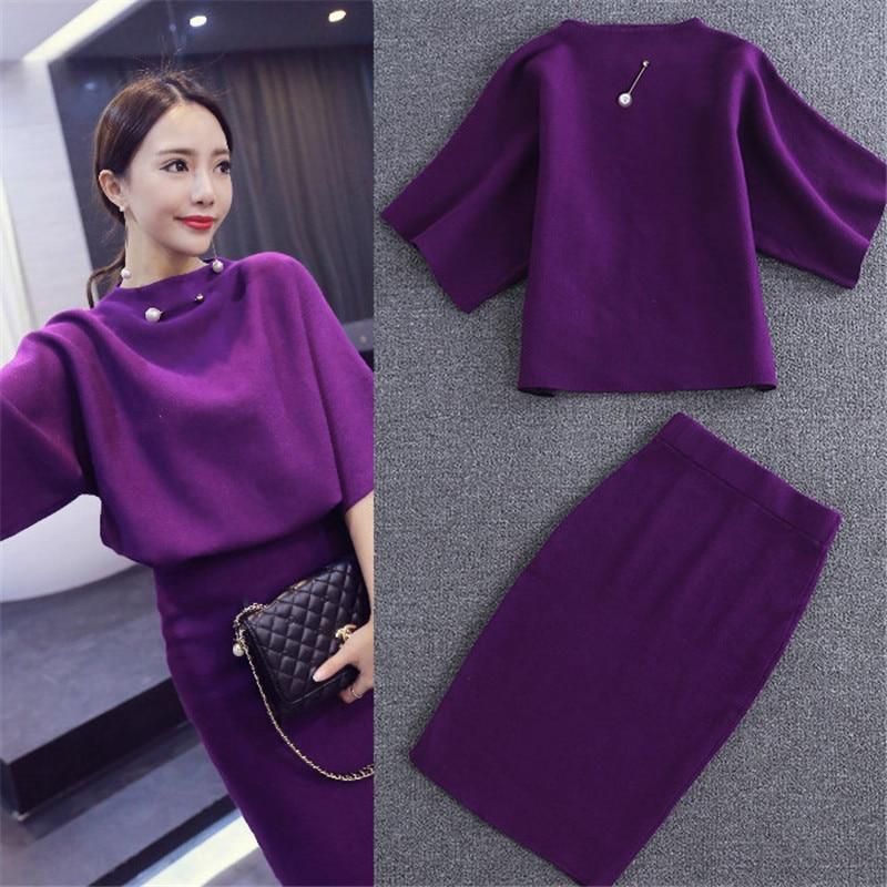 CBAFU Women Knitted Suit Top+skirt Set New Fashion Purple Black Female Knitwear 2 Pieces Set Women Suit Bodycon Skirt Suit N881