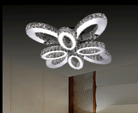 Free Shipping Modern Stainless Steel Crystal Ceiling Lights Butterfly Shape Ceiling Lamps LED Crystal Ceiling Lamp