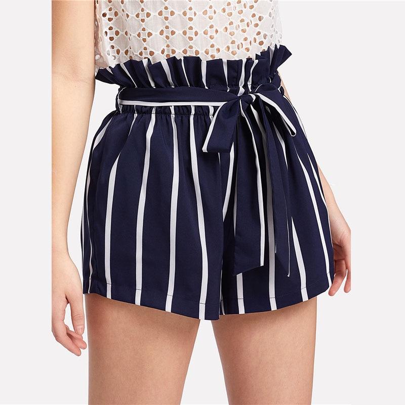 HTB1qGpUoBHH8KJjy0Fbq6AqlpXaF - Belted Ruffle Waist Striped Shorts Women PTC 342