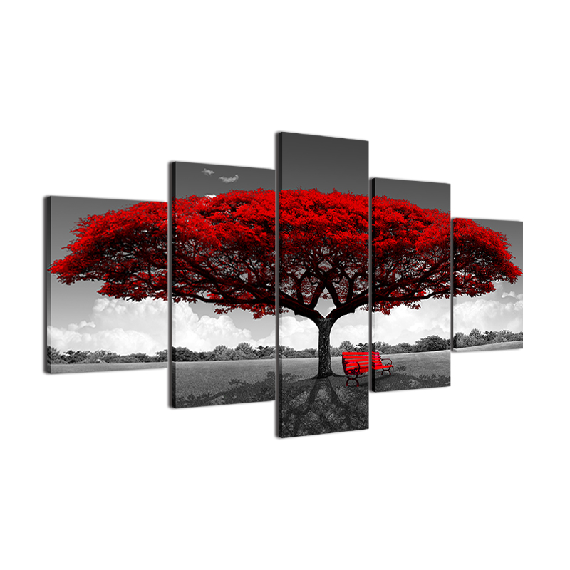 HTB1qGpZgYsTMeJjy1zbq6AhlVXa8 Modular Canvas HD Prints Posters Home Decor Wall Art Pictures 5 Pieces Red Tree Art Scenery Landscape Paintings Framework PENGDA