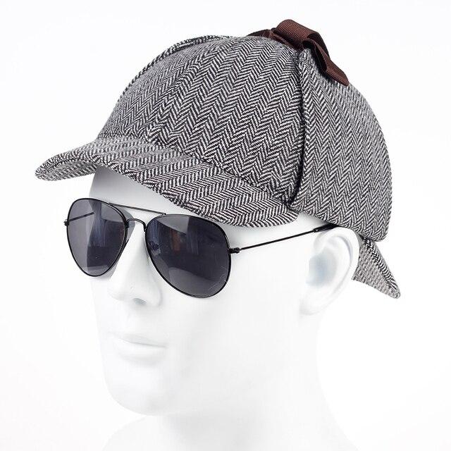 ee3939fe TUNICA 2017 new cotton High Quality Cosplay Cap Detective Sherlock Holmes  Deerstalker Hat Gray Cups New men women Berets Cap