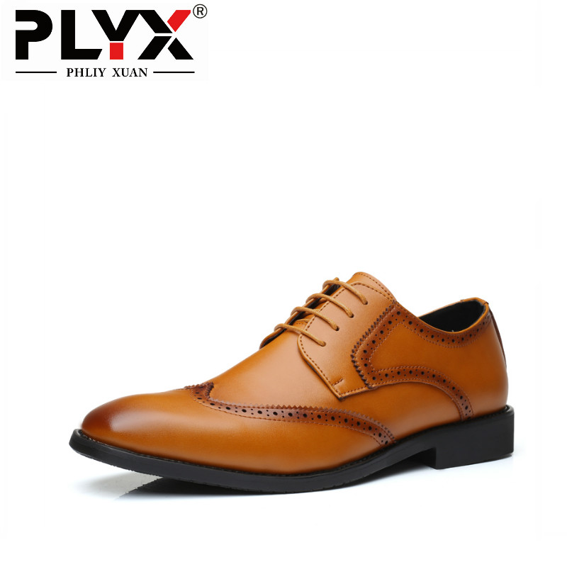 PHLIY XUAN New 2019 Men Business Leather Shoes Pointed Toe Lace up Big Size 38 48 Formal Men official Shoes