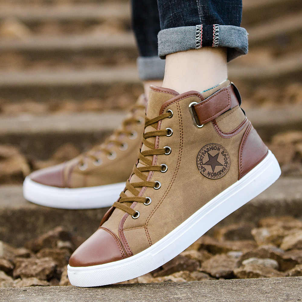 e7d08a125f ... ZYYZYM Men Casual Shoes Spring Autumn Fashion Shoes Men Lace-up High  Style With Flats ...