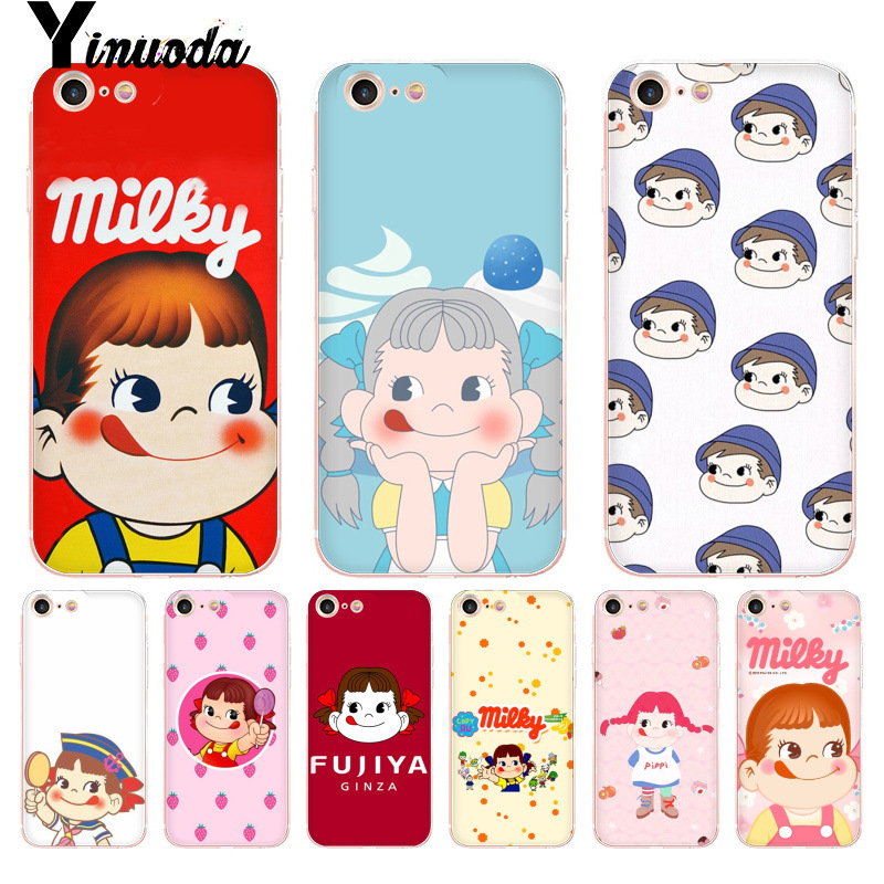 Yinuoda For iphone 7 6 X Case Peko Milky boy and girl Lollipops phone case for iPhone 8 7 6 6S Plus X 5 5S SE 5C XS XR Cases