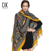 100 Wool Square Head Scarves Women Elegant Lady Carf And Warm Shawl Long Animal Print Stoles