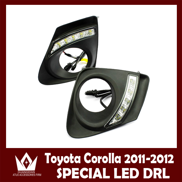 ФОТО Night lord For Corolla 2011 drl CAR vehicle LED DRL Daytime running light with Aluminum rear cover  Free shipping