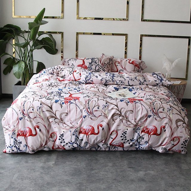 duvet bedding cover pillowcase item flamingo satin luxury linen egyptian set bed bedsheet cotton tutubird covers mediterranean
