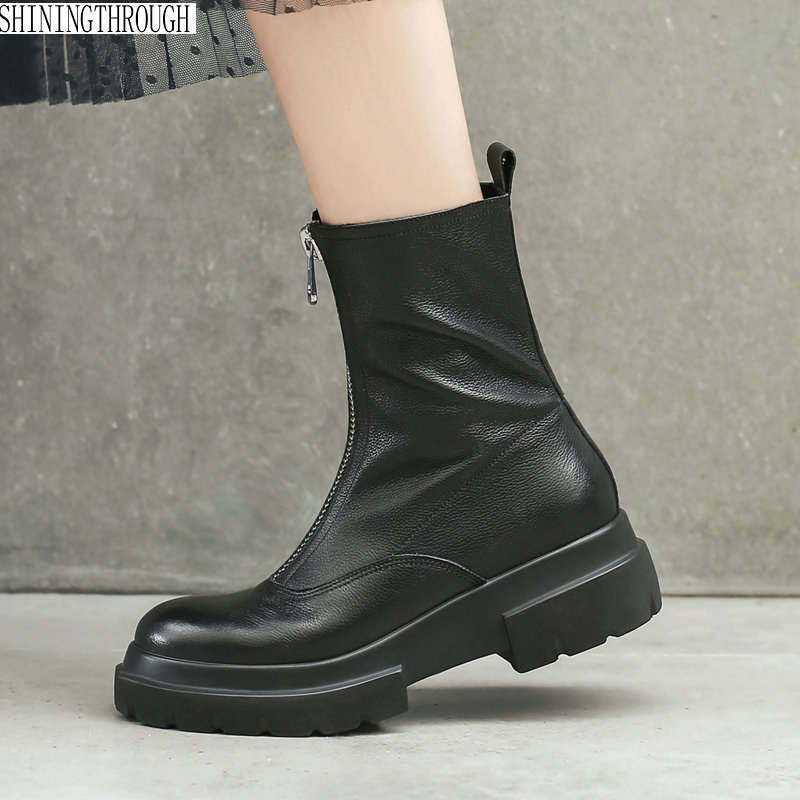 Genuine leather zipper women boots square heels platform women motorcycle shoes punk handsome superstar ankle boots xiangban handmade vintage motorcycle boots women high heels platform boots square heel genuine leather