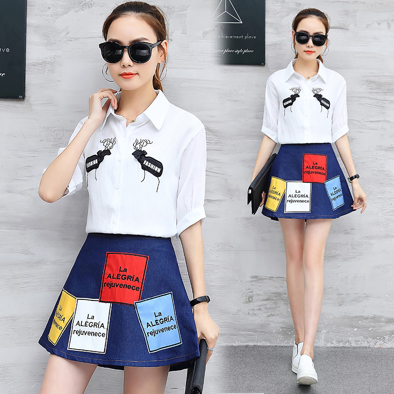 2018 latest fashion girl suits spring new white shirt A word skirt denim skirts two-piece outfit lady vestido student school