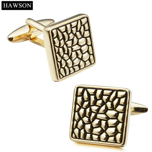 Super Quality Brand Hawson Luxury Black Enamel Gold Plated Wholesale Cuff links For Dad Gift Accessory with Box