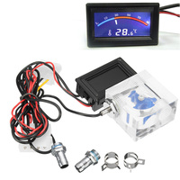 NEW Water Cooled Current Meter 3 Way Flow Meter W LED Thermometer For Water Liquid Cooling