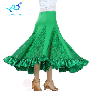 Image 4 - Hohe Qualität Flamenco Lange Rock Ballsaal Tango Modern Dance Rock Große Schaukel Party Kleid Leistung Kostüm Spitze