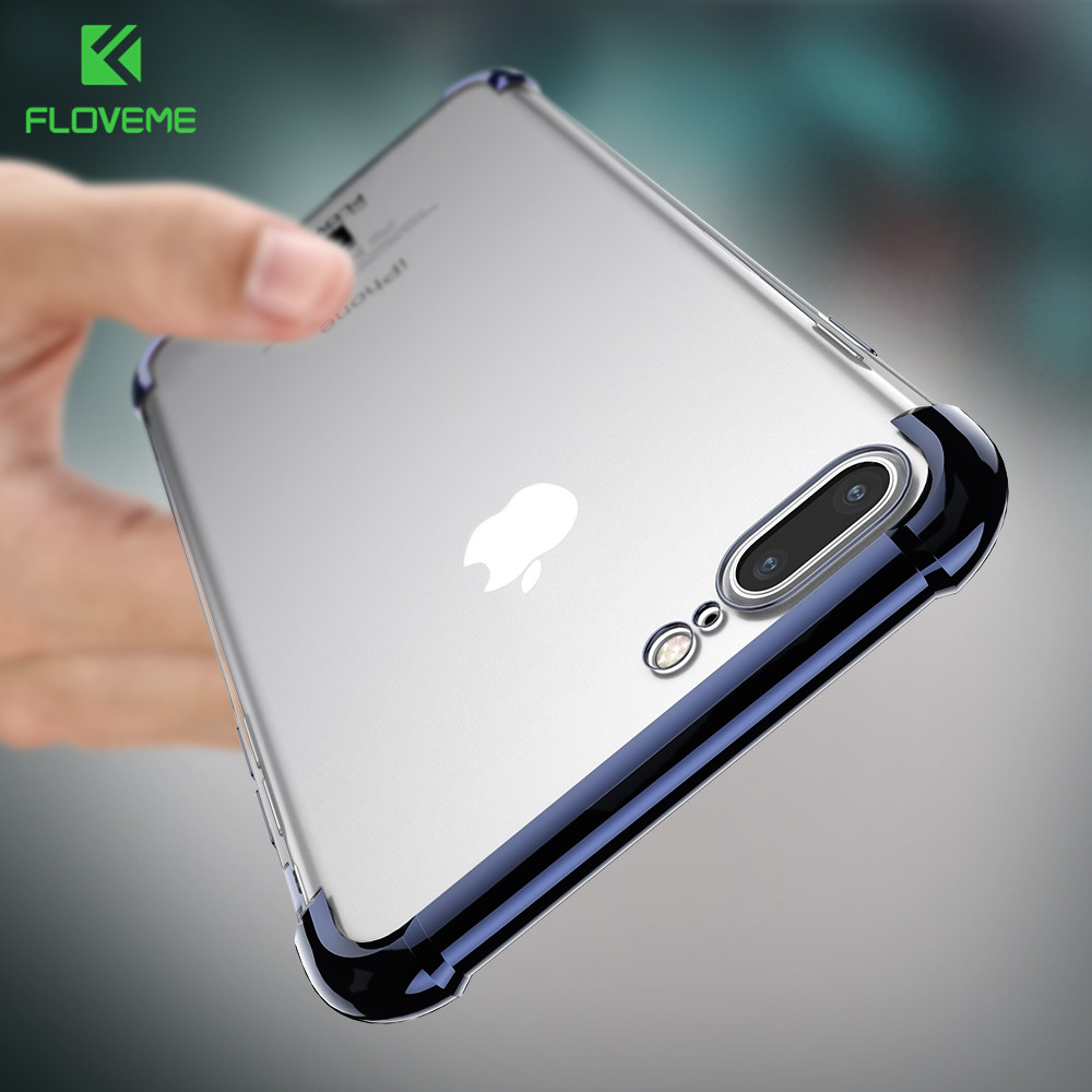 FLOVEME 360 Coverage Phone Case For iPhone 7 8 6 6S Plus Plain Cases For iPhone X 10 Front Back Transparent Cover For Galaxy S8