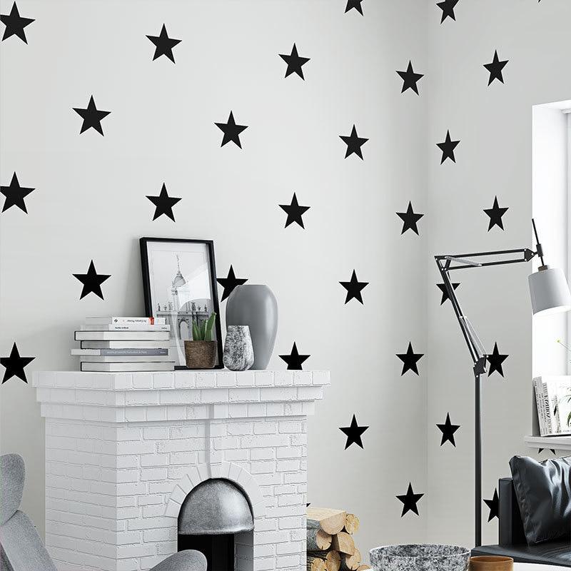 Us 17 5 50 Off Black White Star Baby Nursery Wallpaper For Kids Room Neutral Boys Girls Wall Paper For Children Bedroom Coverings Decor In