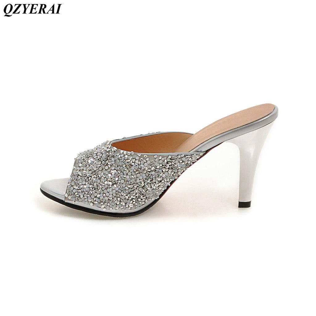 QZYERAI 2018 Новый Обувь на высоком каблуке Женские шлепанцы рыбий рот женская обувь мода металла флэш-тапочки кеды сандалии