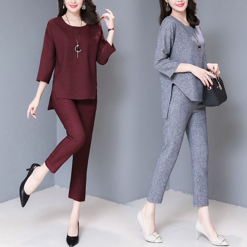 Las 4 3 Casual Mujer Suit gray Dos Ropa Oficina Red Mujeres Piezas Trajes Pant Desgaste Wine Tracksuit Camisa Set Para De Otoño Manga Trabajo WzqwpFIqn