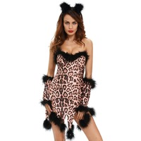 FGirl Cosplay Costume Sexy Halloween Costumes For Women Fluffy Leopard Costume Set FG41716