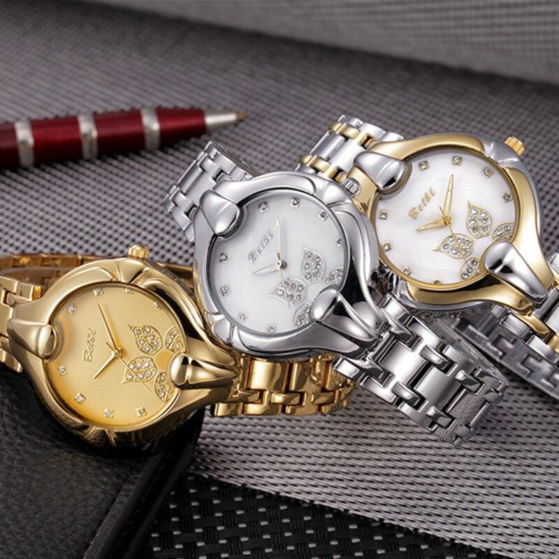 Hoja de oro Diseño de esfera Relojes de pulsera de lujo para mujeres - Relojes para hombres - foto 6