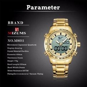 Image 3 - 2020 디지털 시계 남자 럭셔리 브랜드 MIZUMS 남자 스포츠 시계 방수 골드 스틸 쿼츠 남자 시계 군사 Relogio Masculino
