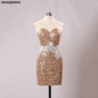 שמלות קוקטייל סקסי נדן קוקטייל קצר אלגנטי שמפניה נצנצים שמלה עם קריסטל אבנט נוצץ שמלות צד פורמלי בנות