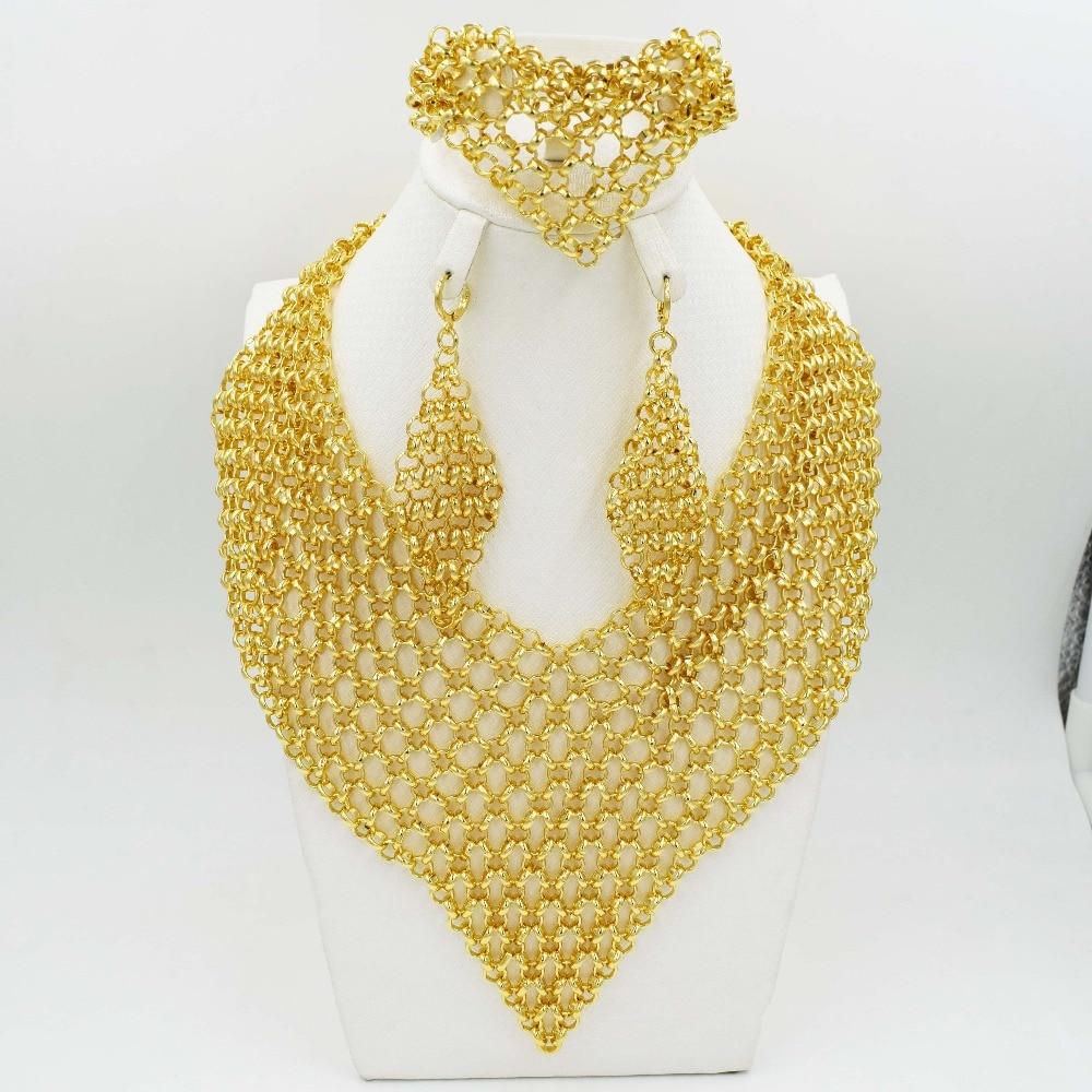 2017 New design Fashion Italy 750 Jewelry BIG Set Nigerian Wedding African Beads Jewelry Parure Bijoux big italy