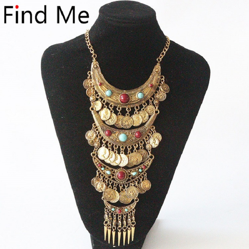 Find Me 2018 fashion boho coin long tassels collar choker necklace vintage gypsy ethnic maxi statement necklace women Jewelry coin fringe statement choker necklace