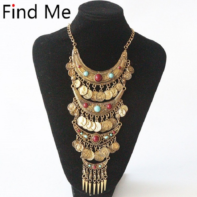 Find Me 2019 fashion boho coin long tassels collar choker necklace vintage gypsy