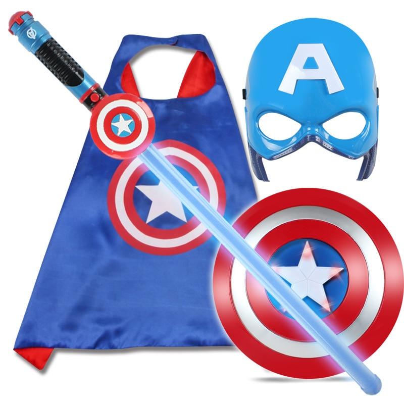 Hot Avenger Super Hero Cosplay Captain America Steve Rogers Figure Light-Emitting & Sound Cosplay Property Toys Metallic Shield