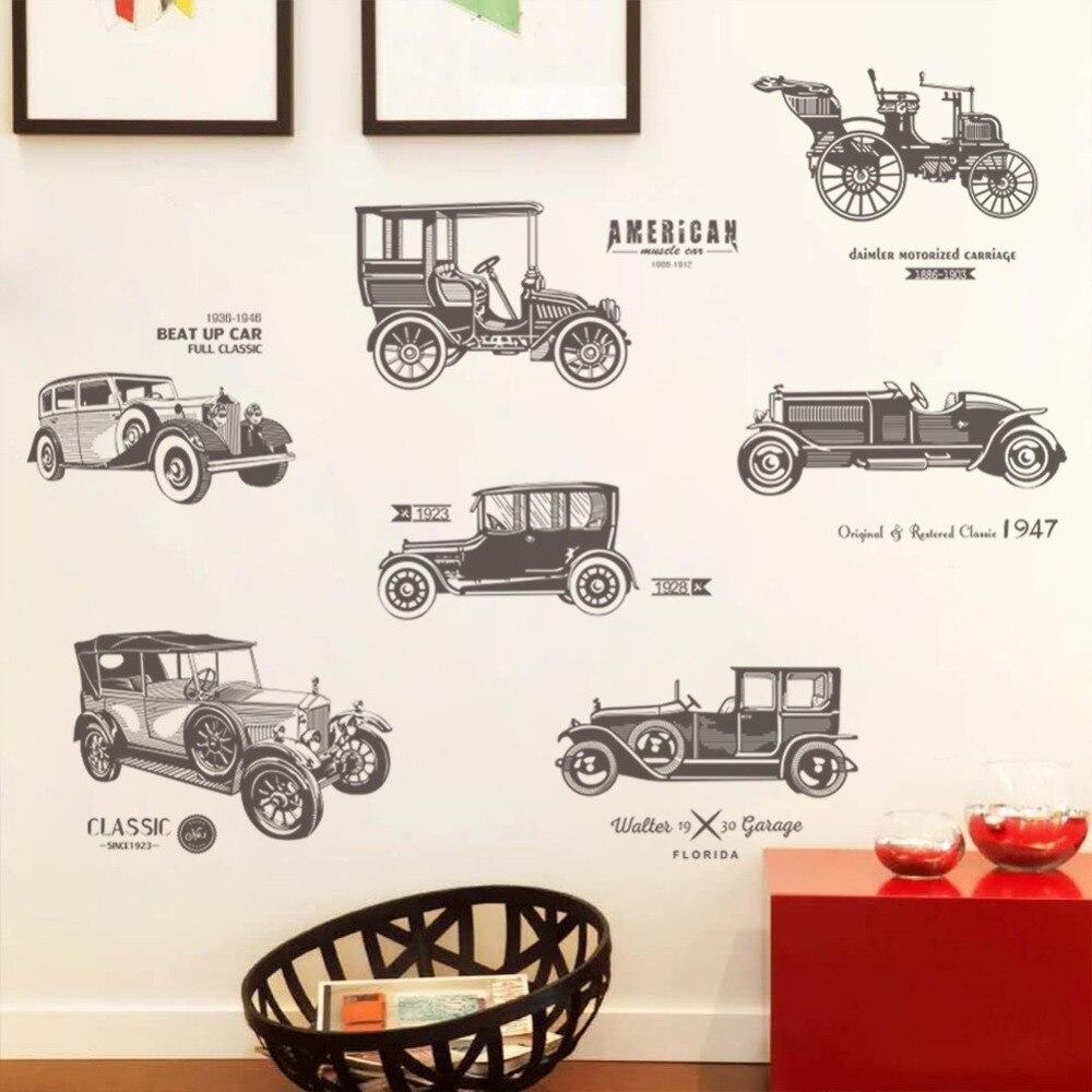 Antique vintage classic car Vinyl Decal Wall Sticker Office Shop Teen Boy Room bedroom Club Decor Art Mural Poster DIY Wallpape