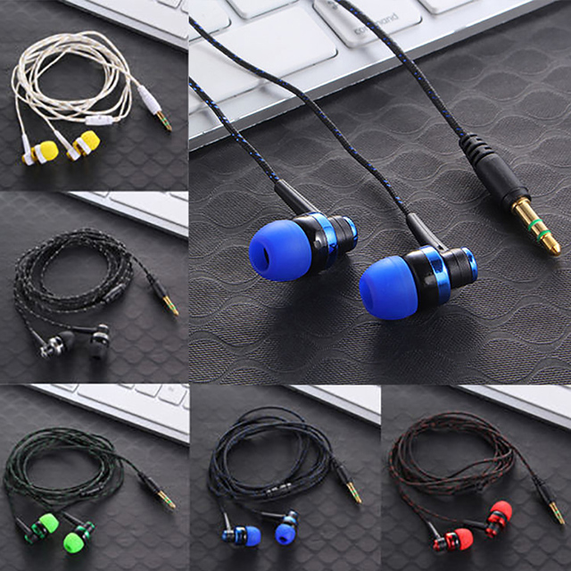 High Quality Wired Earphone Brand New Stereo In-Ear 3.5mm Nylon Weave Cable Earphone Headset With Mic For Laptop Smartphone  & 5