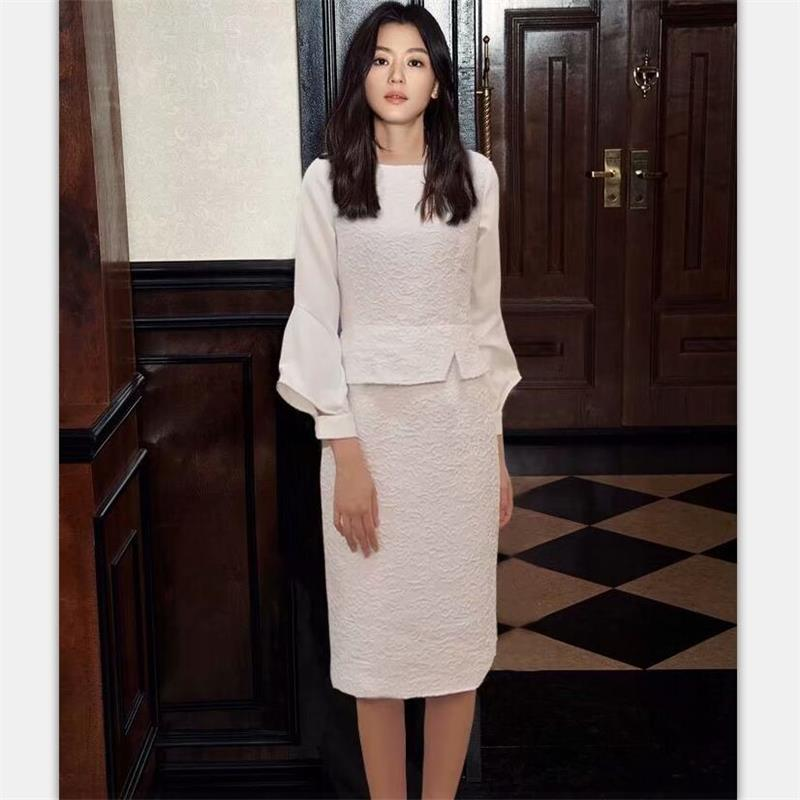 Women Runway Dress 2019 High Quality O-neck Flare Sleeve Jacquard Elegant Work Dress Ladies Pencil Dresses White NP0124C