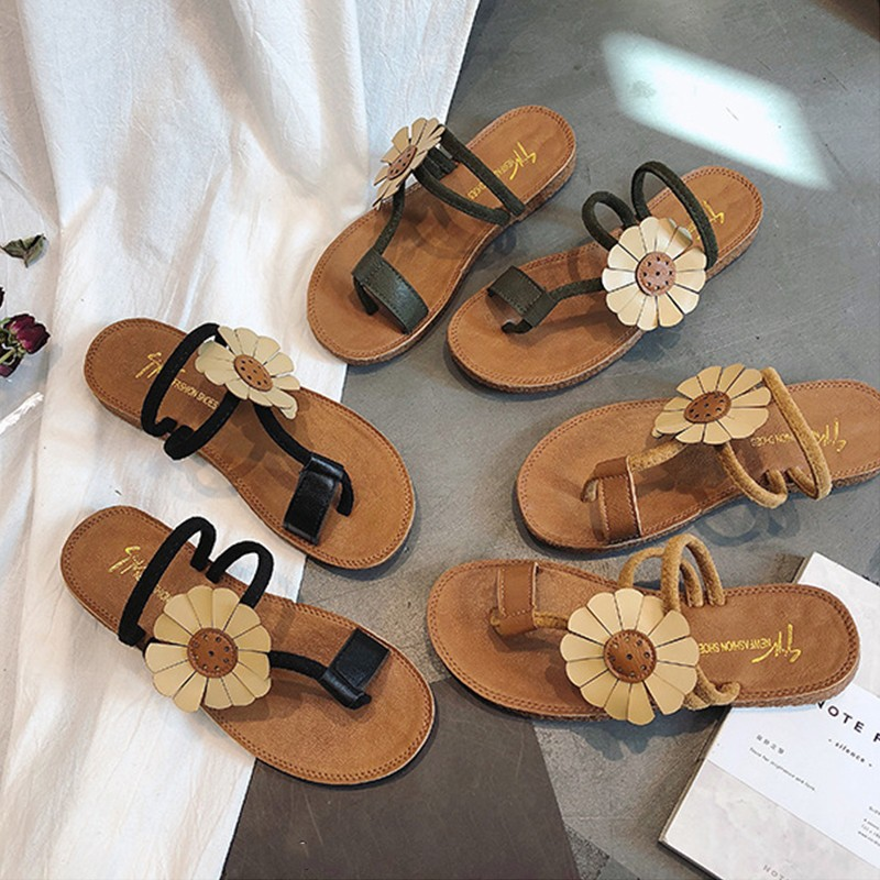 BORRUICE 2019 Shoes Woman Bohemia Summer Sandals Fashion Open Toe Sandals Women Beach Two Wear Soft Flat Shoes zapatos de mujer in Low Heels from Shoes