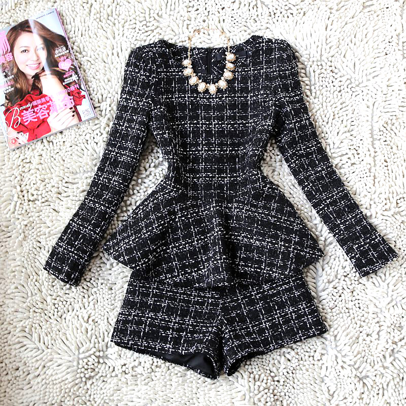 2 Piece Set Women New Fashion Pioneer Temperament Plaid Suit Long-sleeved Tweed Jacket Shorts Two-piece Women's Clothing
