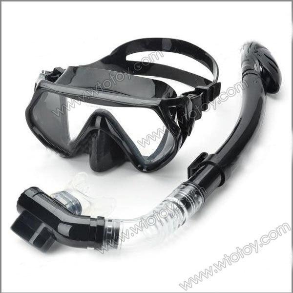 Scuba Diving Snorkeling Silicone Mask Set(Black) 12579