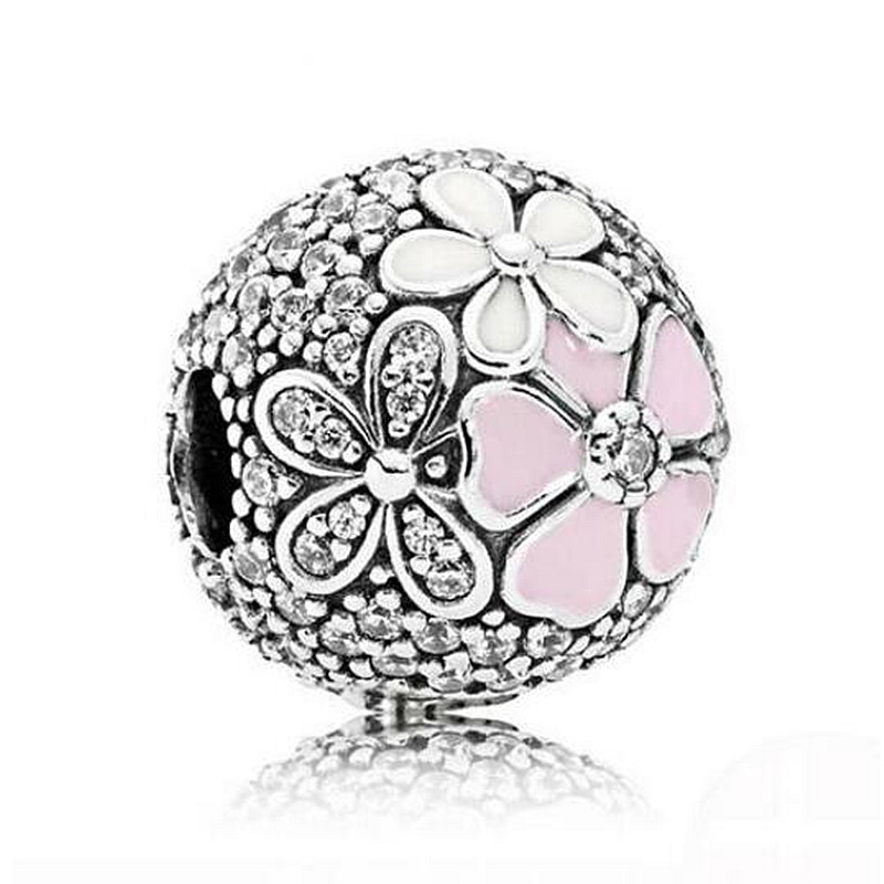 Calvas Authentic 925 Sterling Silver Bead Charm Poetic Blooms Fixed Clip Lock Stopper Beads Fit Women Charm Bracelet /& Necklace Jewelry