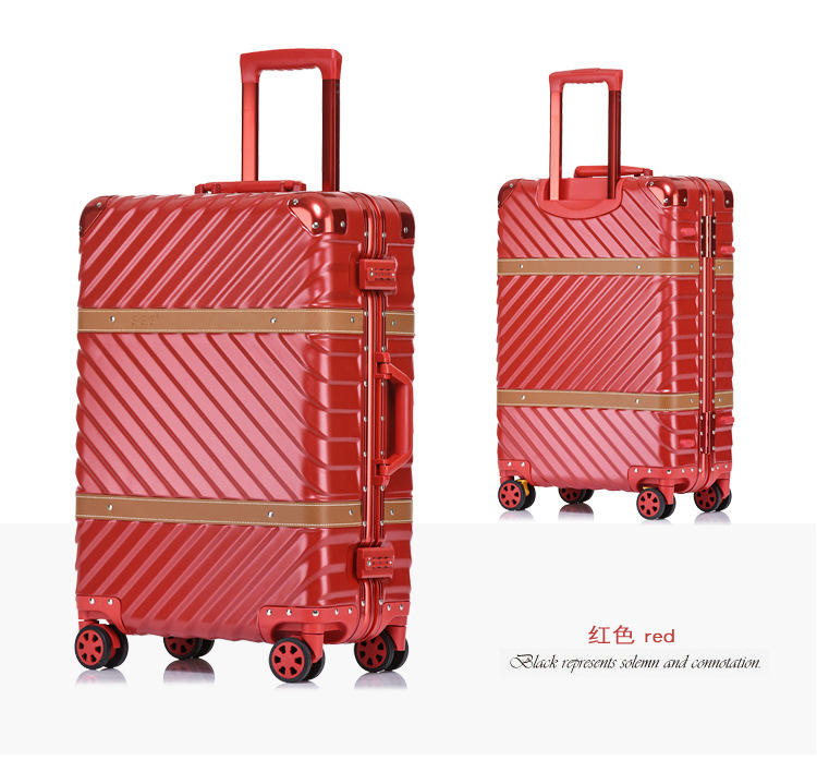 цена на Classic Retro Aluminum Luggage Suitcase 20242628' Carry On Luggage Hardside Rolling Luggage Travel Trolley Luggage Suitcase