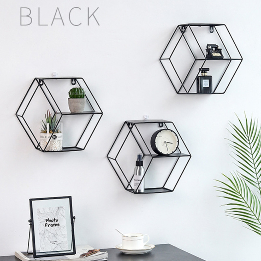 Image 5 - 3 Colors Wall Mounted Metal Rack Circular Mesh Iron Shelf Euro Style Round Shelf Office Sundries Organizer Home Decor-in Home Office Storage from Home & Garden