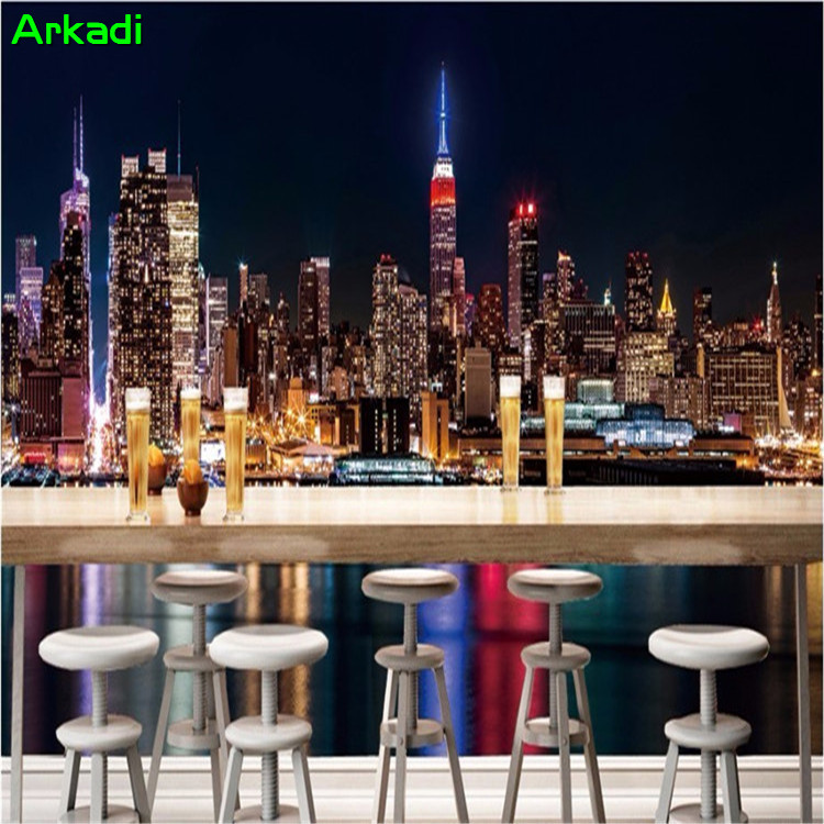 Modern 3d New York City Night Scenery Wall Wallpaper