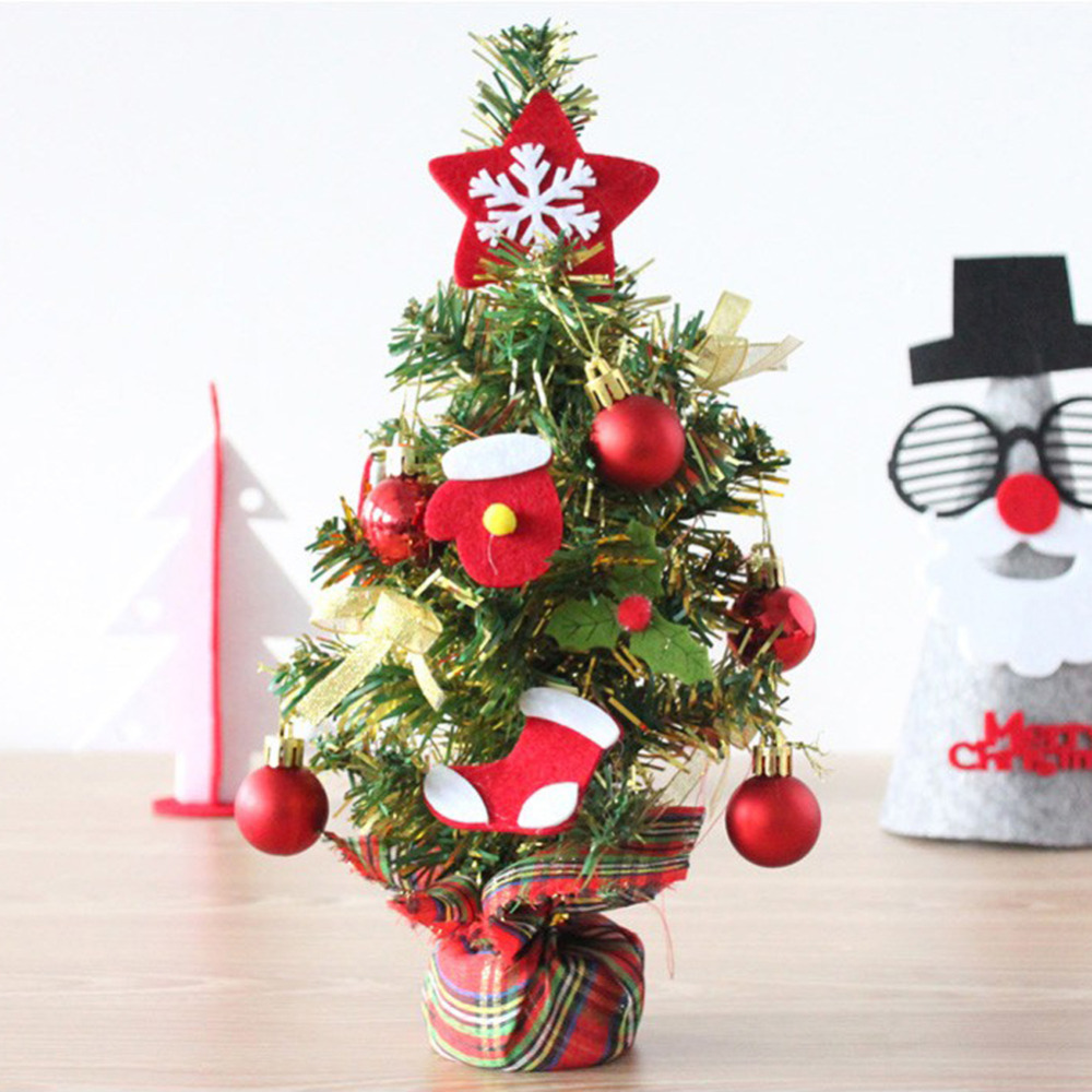 Miniature xmas tree ornaments - 1 Set Desktop Mini Christmas Tree With Christmas Tree Decorations Hanging Ornaments For Home New Year